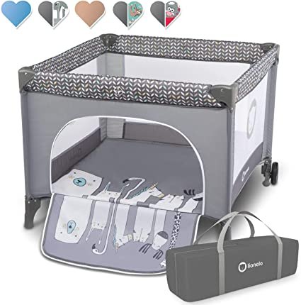 STELLA Parc bébé pliant 6 mois à 3 ans + sac + moustiquaire Gris