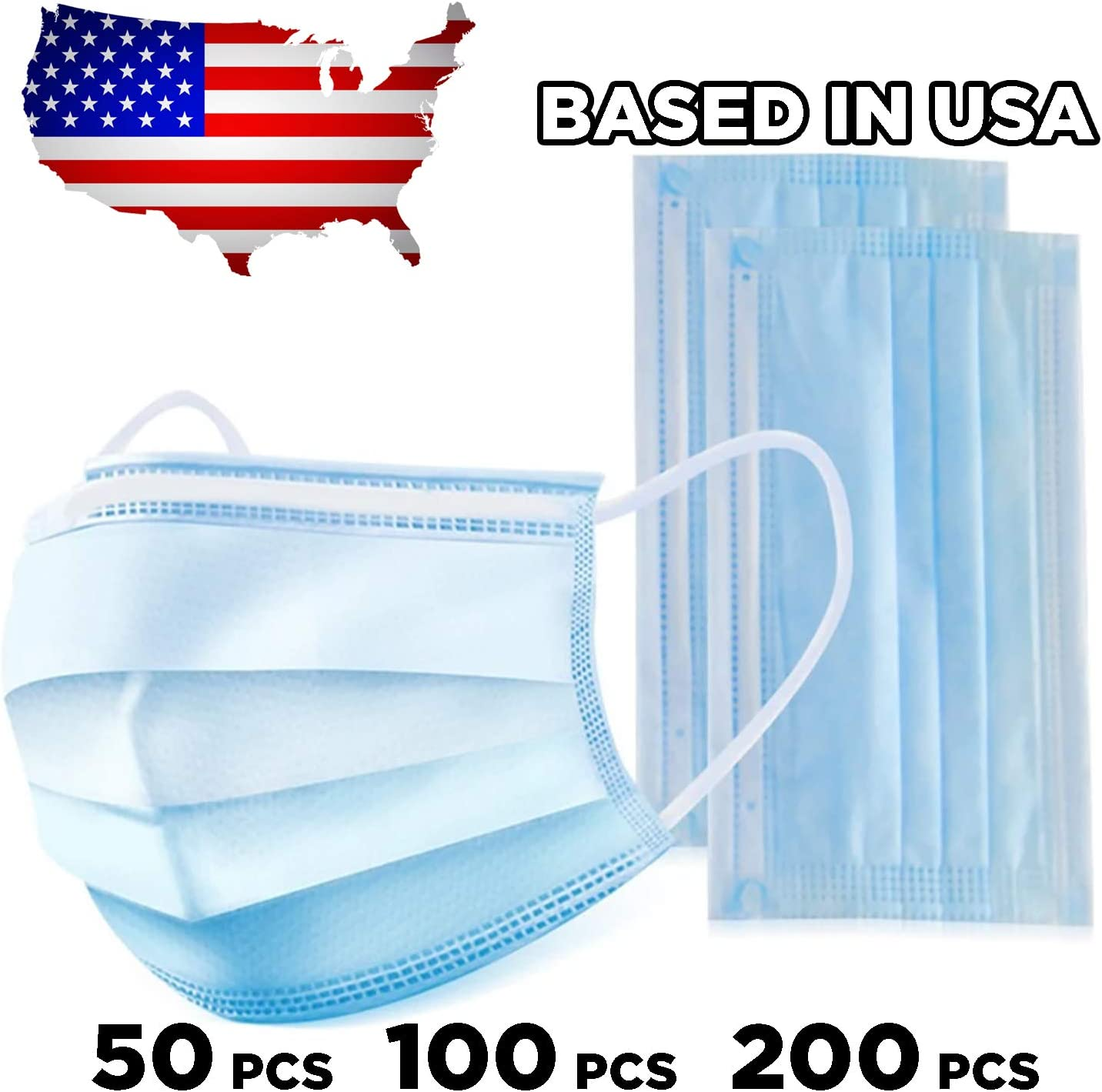 3 Ply Disposable Mask with Elastic Ear Loops - Mask 50 PCS - Soft & Comfortable Filter Safety Mask for Dust Protection - Protective