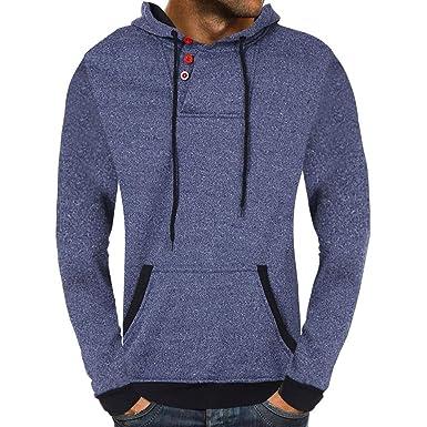 Pullover Hombre Invierno, YiYLunneo Ocio De Los Hombres Sudadera Color SóLido Sweater Tapa De Botón Pullover Arriba Outwear Sweatshirts Man Hoodie: ...