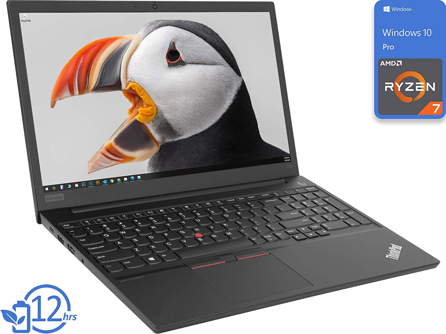 "Lenovo ThinkPad E15 Laptop, 15.6"" FHD Display, AMD Ryzen 7 4700U Upto 4.1GHz, 8GB RAM, 1TB NVMe SSD, HDMI, DIsplayPort via USB-C, Card Reader, Wi-Fi, Bluetooth, Windows 10 Pro"