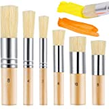 6 Pieces Wooden Stencil Brush 6 Sizes Natural Stencil Brushes Stipple Paint Brush Painting Bristle Brushes Wood Bristle…