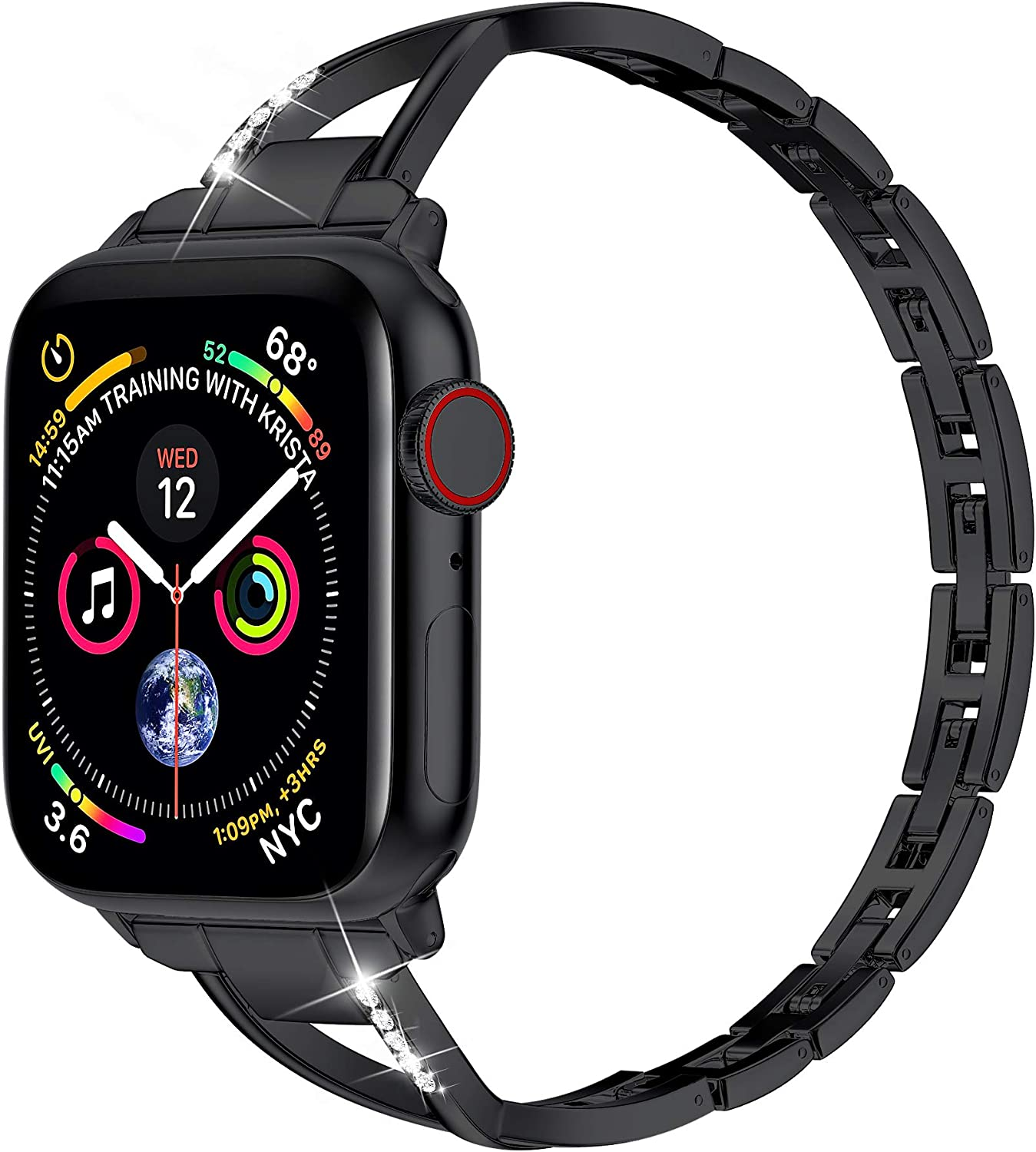 MARGE PLUS Compatible with Apple Watch Band 40mm 38mm 44mm 42mm, Women Bling Wristband for iWatch SE Series 6 5 4 3 2 1 Metal Stylish Strap