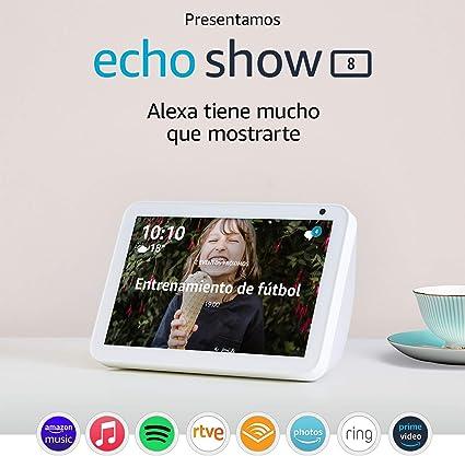 Oferta amazon: Presentamos el Echo Show 8: mantén el contacto con la ayuda de Alexa, tela de color gris claro