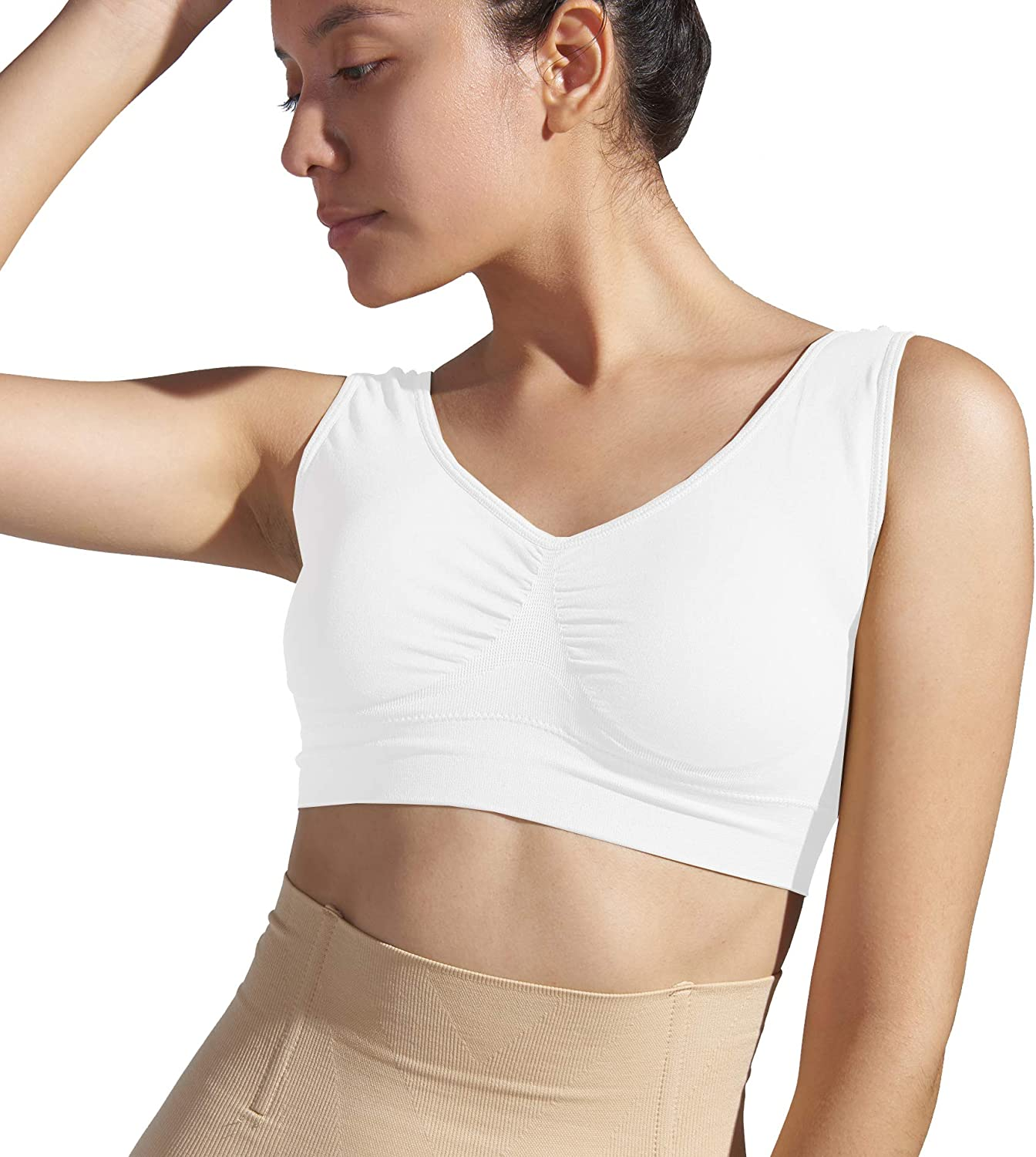 Yoga Bras Sport Bras HAPPY FEATHER Women Seamless Comfortable Wireless Sleep Bra with Removable Pads