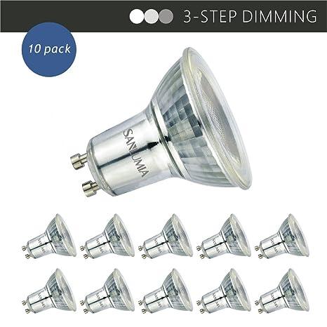 Sanlumia Bombillas LED GU10, 3-STEPS Dimming Regulable, 6W=75W Halógena,