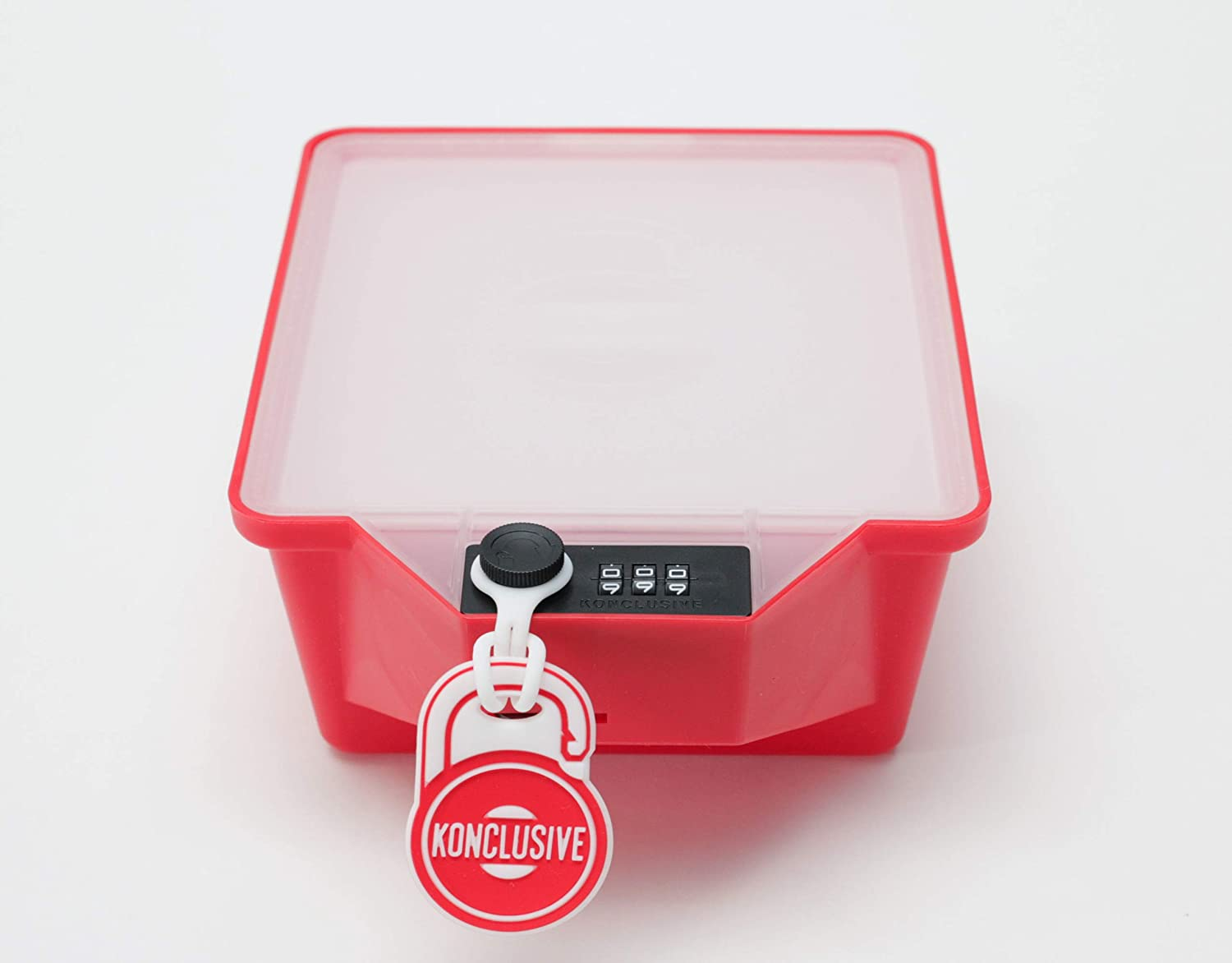 Konclusive Container | Lunchbox With A Lock | Container With A Lock | Protect Your Food At Work & Home | Anti - Theft & Tampering | Made In The USA | Strawberry Red
