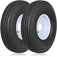 """$64 » Weize 480-8 4.80-8 4.80x8 4.8-8 Trailer Tires with 8"""" White Rims,Load Range C, 6PR, Set Of 2"""