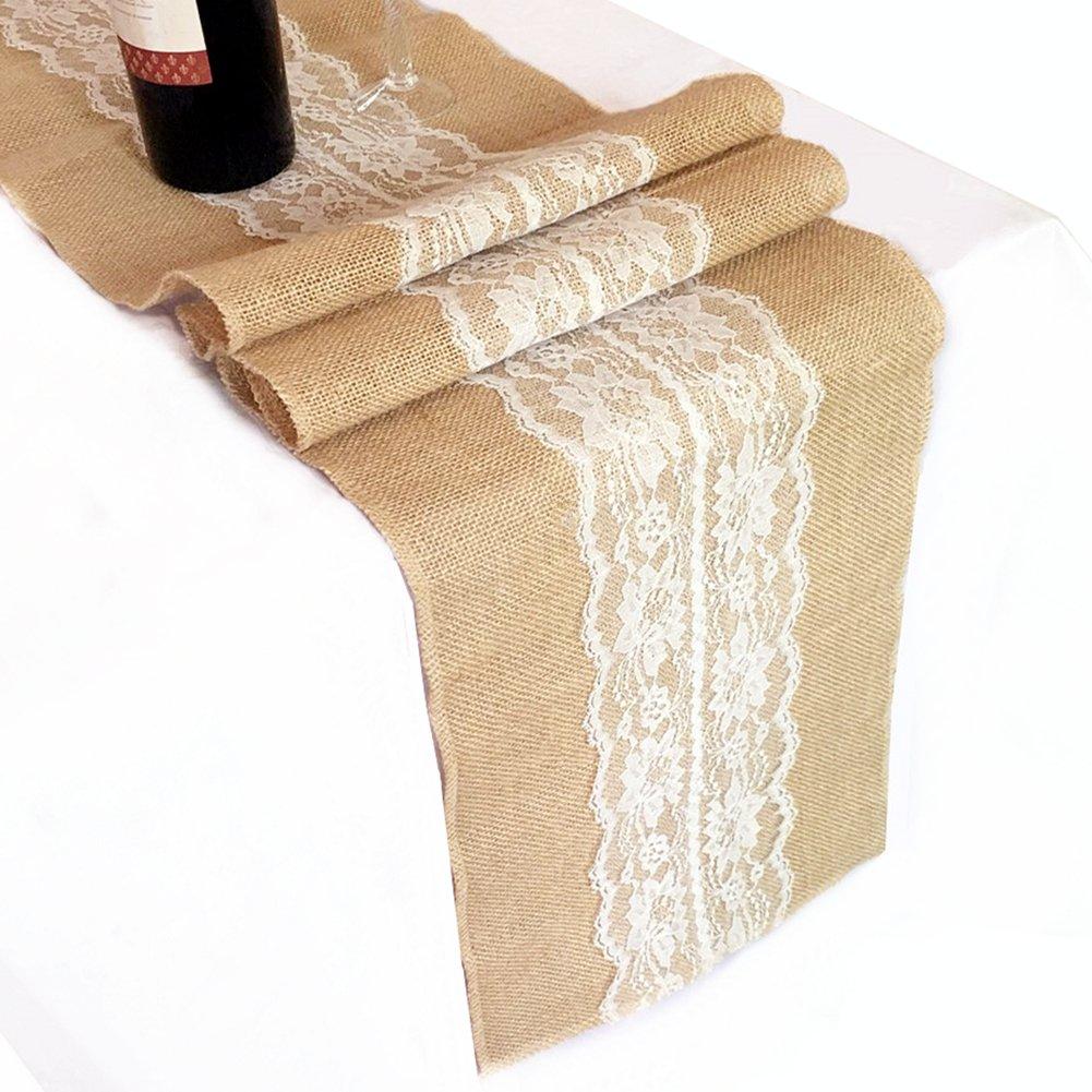 OZXCHIXU Burlap & Lace Hessian Jute Table Runner For Wedding Party Decor (12'' x 120'' Ivory)