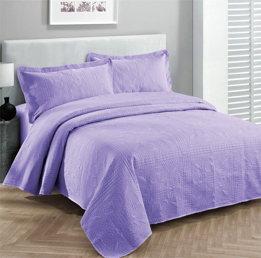 Fancy Collection 3pc Luxury Bedspread Coverlet Embossed Bed Cover Solid Purple/lavender New Over Size Full/queen