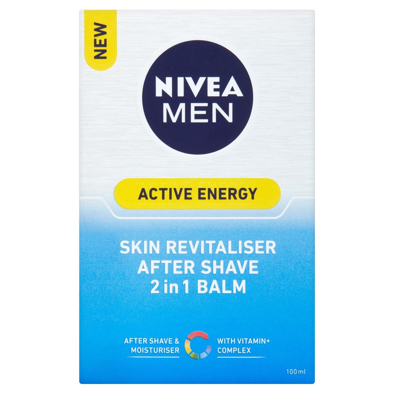 NIVEA MEN Active Energy After Shave Balm, 2-in-1 Moisturiser + Post Shave, 100 ml, Pack of 2 Beiersdorf Uk Ltd 88884