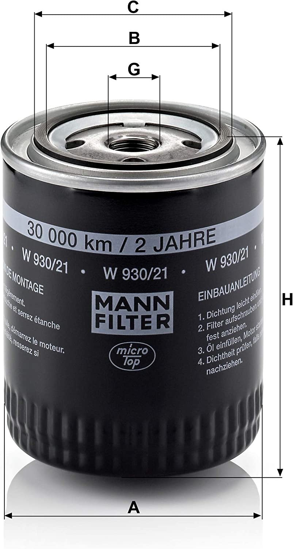 Original Mann Filter Ölfilter W 930 21 Für Pkw Auto