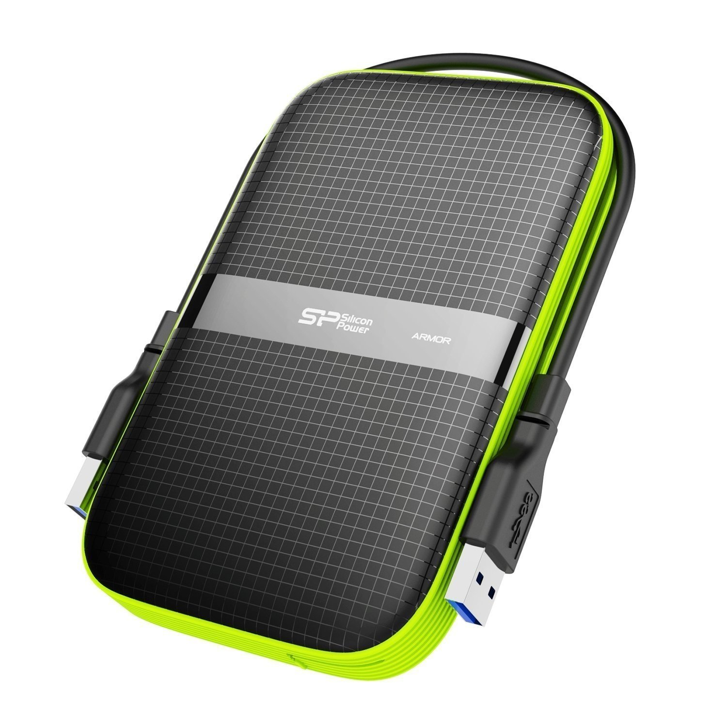 2TB Silicon Power Armor A60 Shockproof Portable Hard Drive - USB3.0 - Black/Green Edition