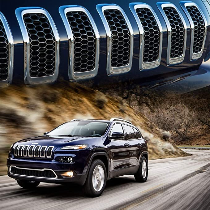 Astra Depots 7PCS Chrome Honeycomb Front Mesh Grilles Inserts Car Grill Compatible with Jeep Grand Cherokee 2017 2018 2019 2020