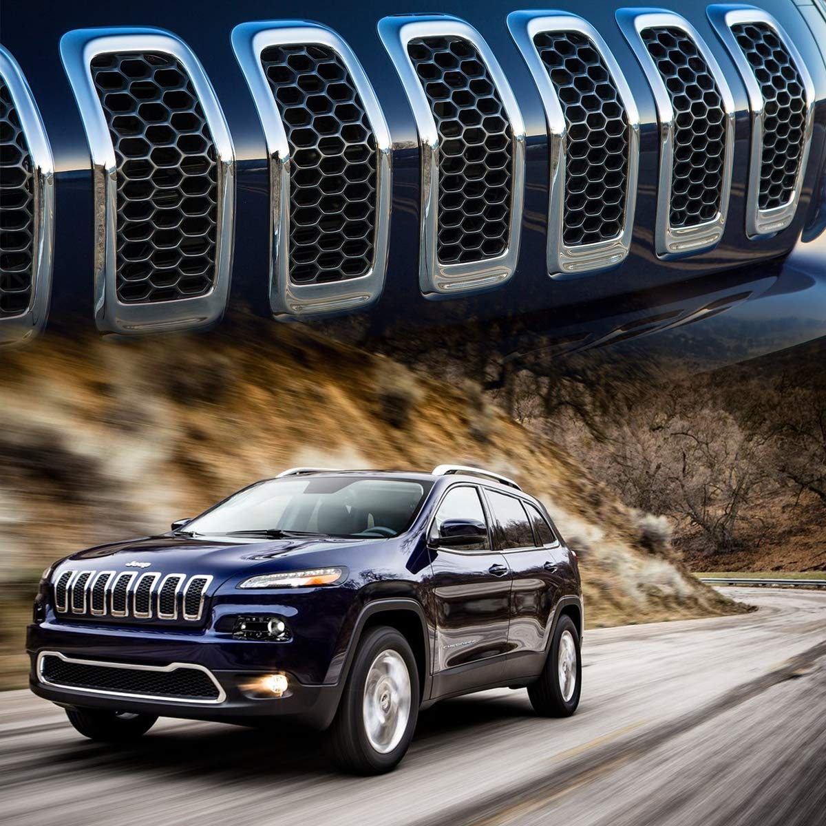 Silver and Black XBEEK 2014-2018 Jeep Cherokee Gloss Front Grille Grill Inserts Covers Gloss 7pcs