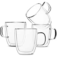 Set of 4 (12 oz, 350 ml), Coffee Mugs, Glass Tea Mugs, Double Wall Glass Coffee Cups, Tea Cups, Latte Cups, Glass Coffee Mug, Beer Glasses, Latte Mug, Clear Mugs, Glass Cappuccino Cups