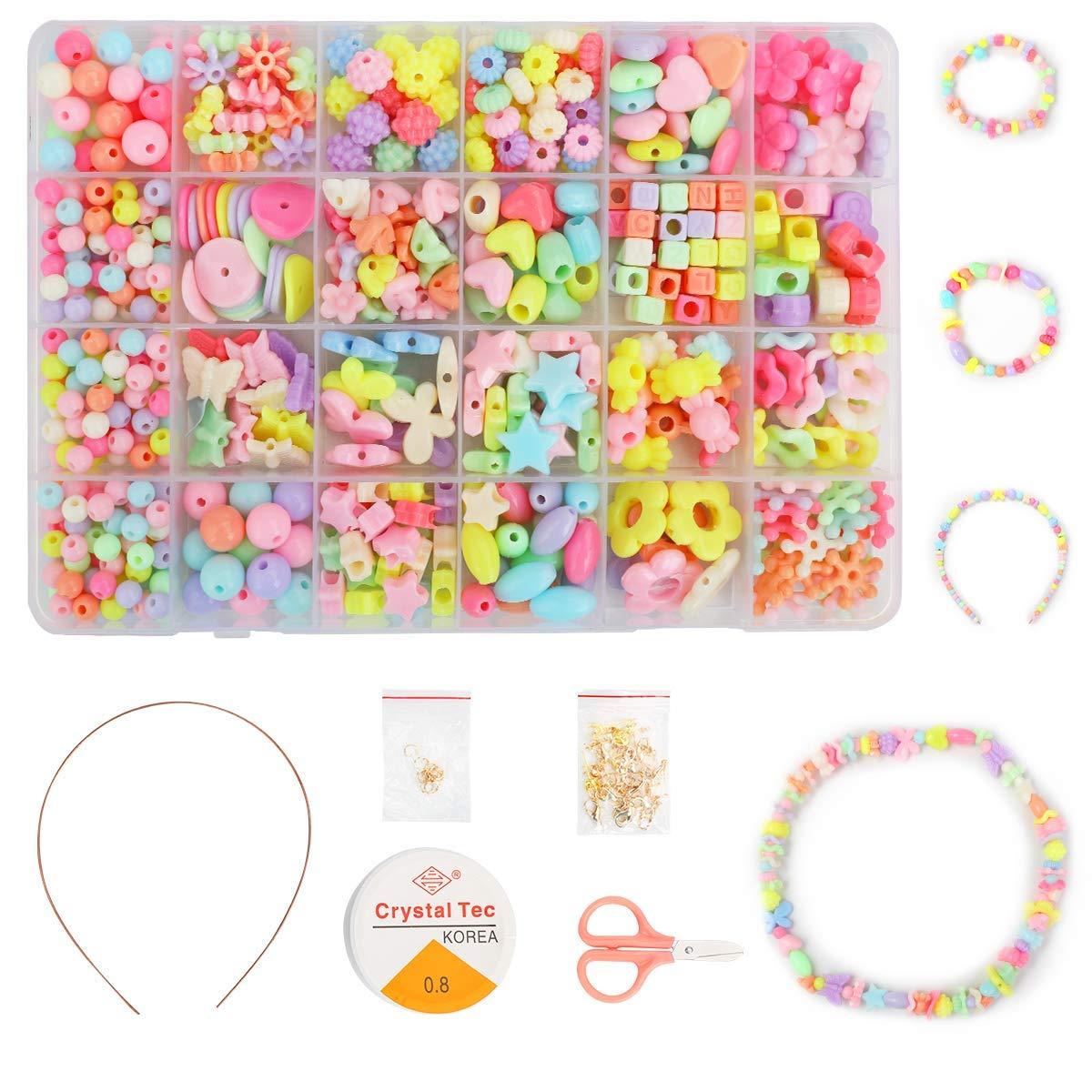 24 Farben Ucradle Perlen Zum Auffadeln Schmuck Set 550pcs Kinder