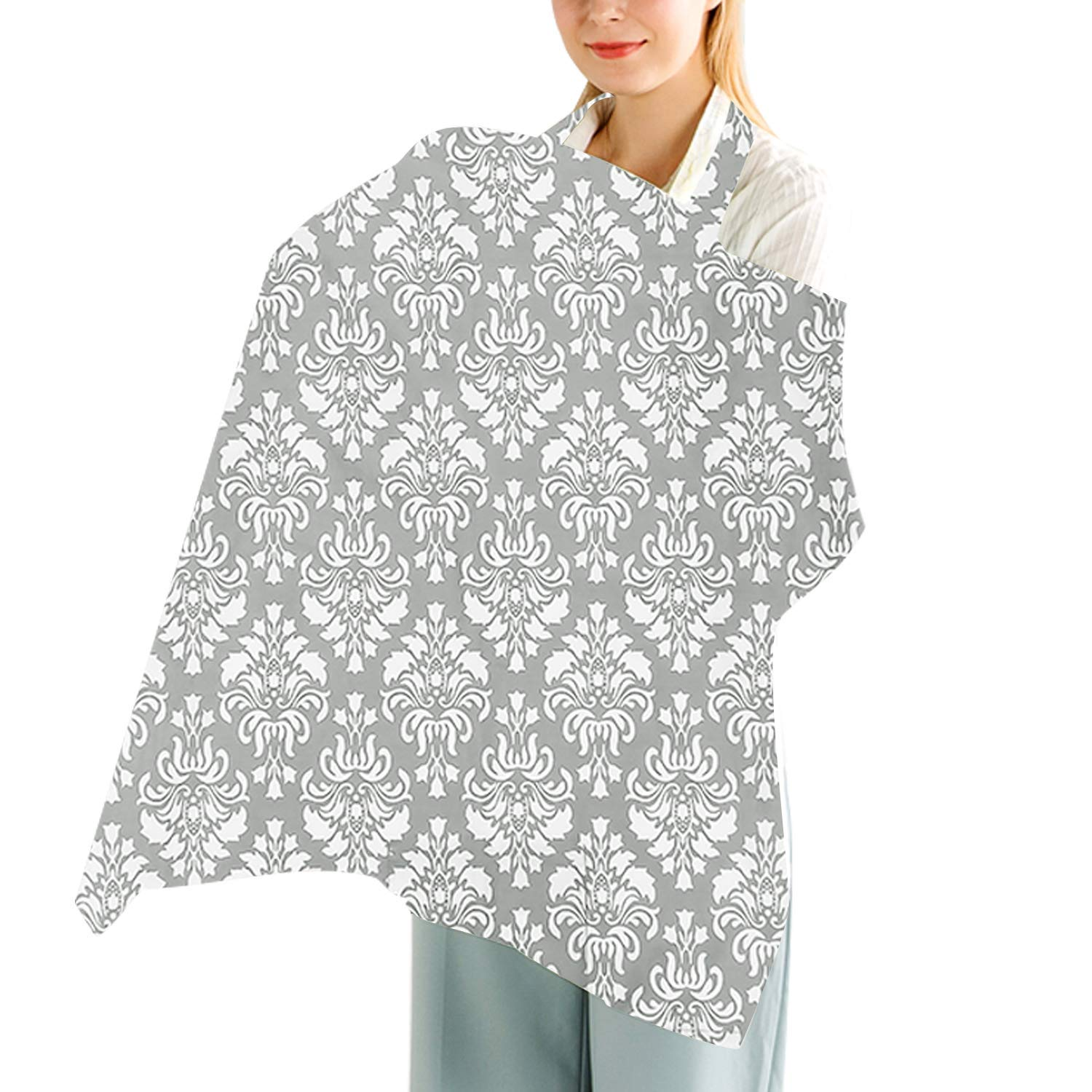 Wide Privacy Hider for Moms Baby Breastfeeding Covers White Soft Breathable 100/% Cotton Cover Design with Sewn in Burp Cloth for Breastfeeding Babies Cok Nursing Cover