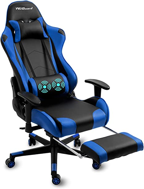 Weguard Massage Gaming Chair Racing Office Computer Game Chair Swivel Ergonomic Executive Pu Leather Chair With Adjustable Headrest And Lumbar And Support Retractable Footrest Blue Kitchen Dining