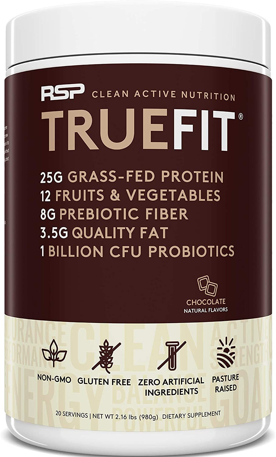 RSP TRUEFIT - Protein Powder Meal Replacement Shake for Weight Loss, Grass Fed Whey, Organic Real Food, Probiotics, MCT Oil, Non-GMO, Gluten Free, No Artificial Sweeteners, 2 LB Chocolate: Health & Personal Care