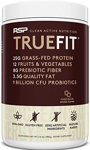 RSP TRUEFIT – Protein Powder Meal Replacement Shake, Grass-Fed, Organic Real Food, Probiotics, MCT Oil, Non-GMO, Gluten Free, No Artificial Sweeteners, 2 LB Chocolate