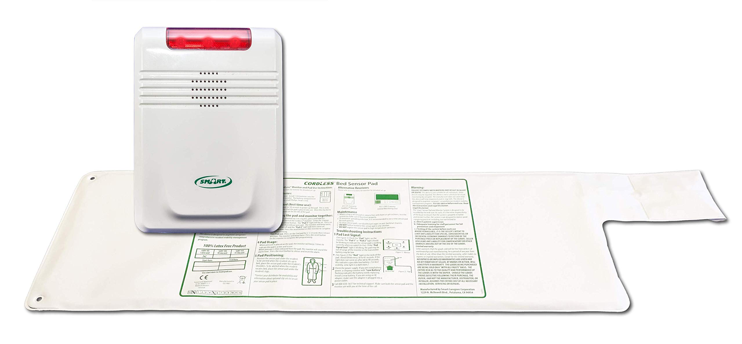 """Smart Caregiver Cordless Bed Exit Alarm System for Fall/Wandering Prevention – Includes Cordless Monitor and Wireless Bed Pad 10""""x30"""""""