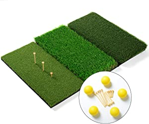 WHHW Foldable 16 x 25 inches Tri-Turf Golf Hitting Mat for Indoor & Outdoor | Portable Training Aids with Adjustable Tees and Foam Practice Balls for Driving, Chipping, Putting