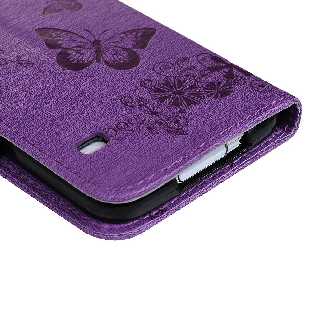 Galaxy S5 Case, Bling Shiny Diamonds Crystal Embossed Butterfly Wallet Case Premium PU Leather TPU Inner Bumper Wrist Strap Card ID Holder Protective ...