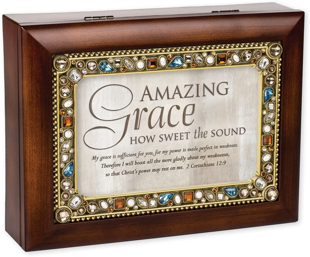 Cottage Garden Amazing Grace Walnut Wood Finish Jeweled Lid Jewelry Music Box Plays Tune Amazing Grace