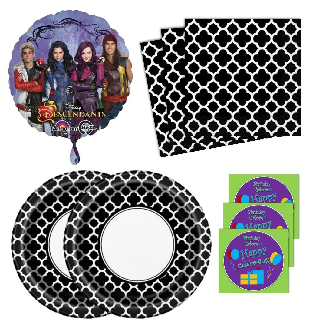 Descendants Birthday Party Supplies Set Large Plates Napkins & Balloon Kit for 16 Plus Stickers