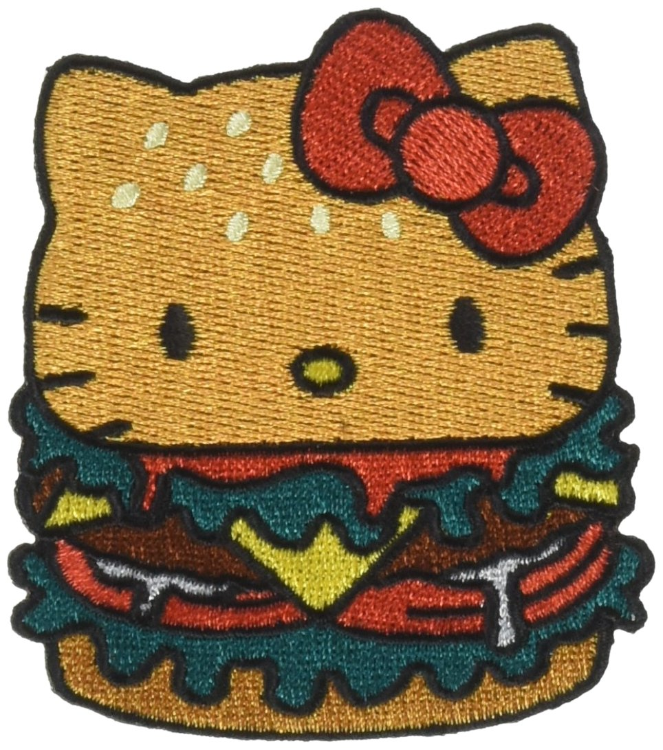 HELLO KITTY BURGER, Officially Licensed, Iron-On / Sew-On, Embroidered PATCH パッチ - 2.7