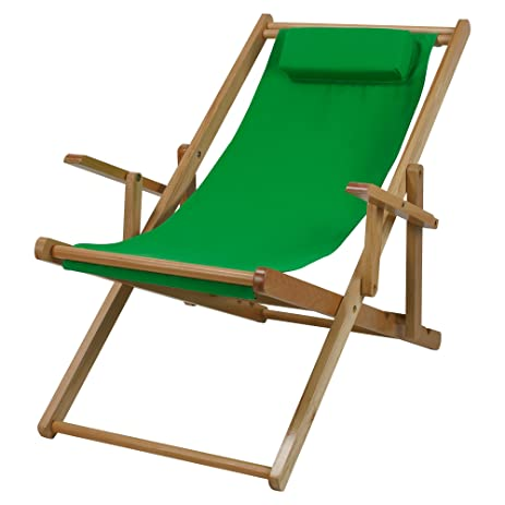 Casual Home Adjustable Sling Chair Natural Frame  Green Canvas. Amazon com  Casual Home Adjustable Sling Chair Natural Frame
