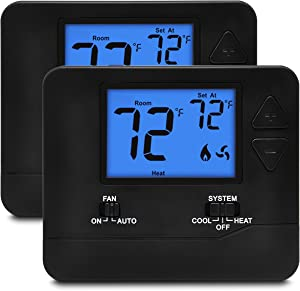 2 Pack - ELECTECK Digital Thermostat with Large LCD Display, Non-Programmable, Compatible with Single Stage Electrical and Gas/Oil System, Up to 1 Heat/1 Cool, Black