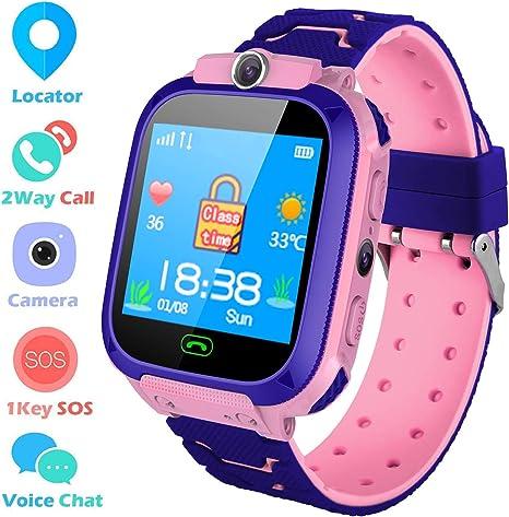 Smartwatch Kinder LBS Telefon Uhr f/ür Kinder Tracker mit SOS Voice Chat Kinderuhr Junge M/ädchen Blue