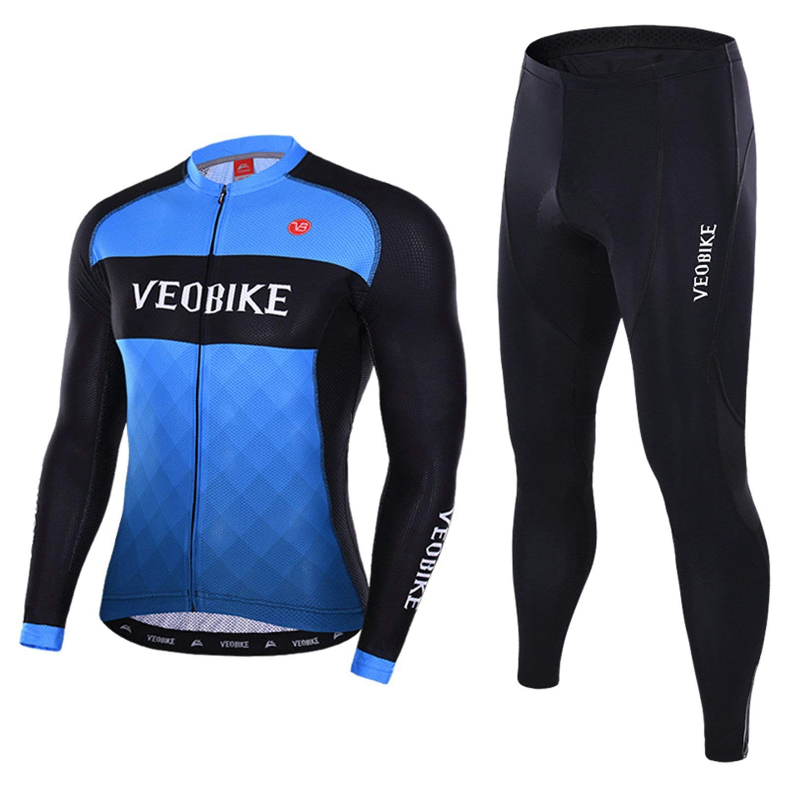 Aooaz Men's Cycling Clothes Suit Long Sleeve Mountain Bike Shirt Tights Biking Outfit Size M Blue