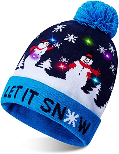 Kids Christmas Snowman Knitted Pom Pom Beanie Hat Festive Winter Warm Boys Girls