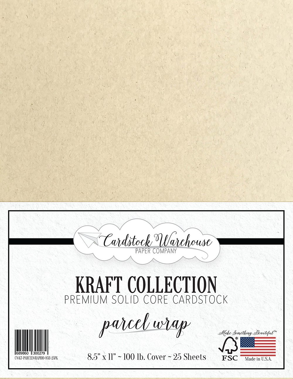 PARCEL WRAP KRAFT Recycled Cardstock from Cardstock Warehouse - 8.5 X 11 - PREMIUM 100 LB. COVER - 25 Sheets French Paper Company 4336867756