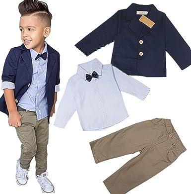 cef6066bf30c Amazon.com  Baby Boys  Gentleman Sets Jacket + Shirt + Pants 3pcs ...