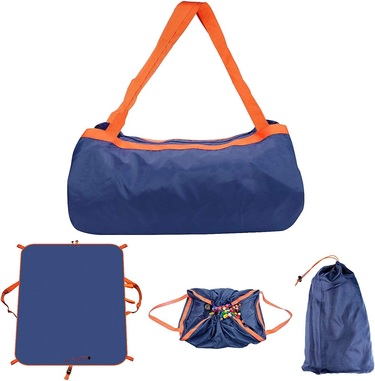 Sysmarts Picnic Blanket Outdoor Waterproof Mat Foldable Portable Large Bag for Outdoor Travel Beach Dark Blue Camping 57 x 57