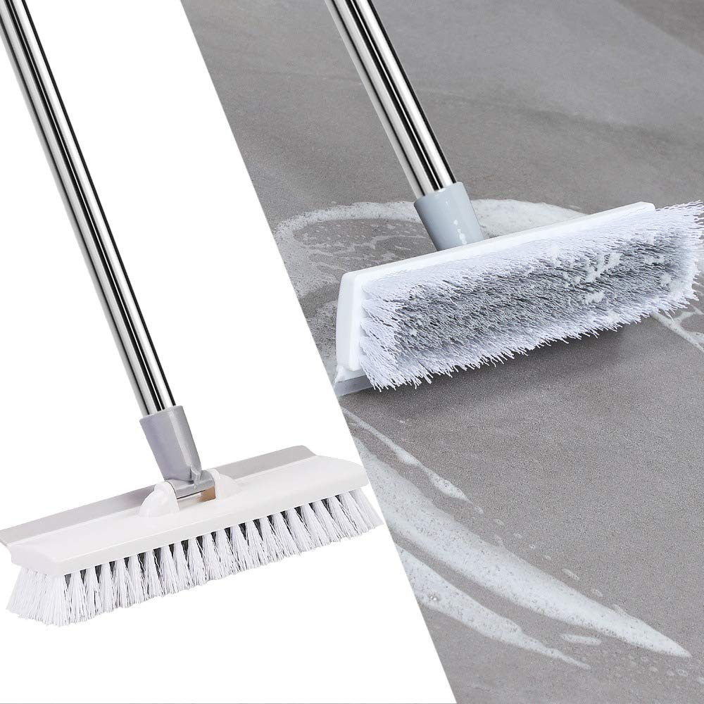 Upgrade Version] Floor Scrub Brush with Squeegee,Stiff Bristles ...