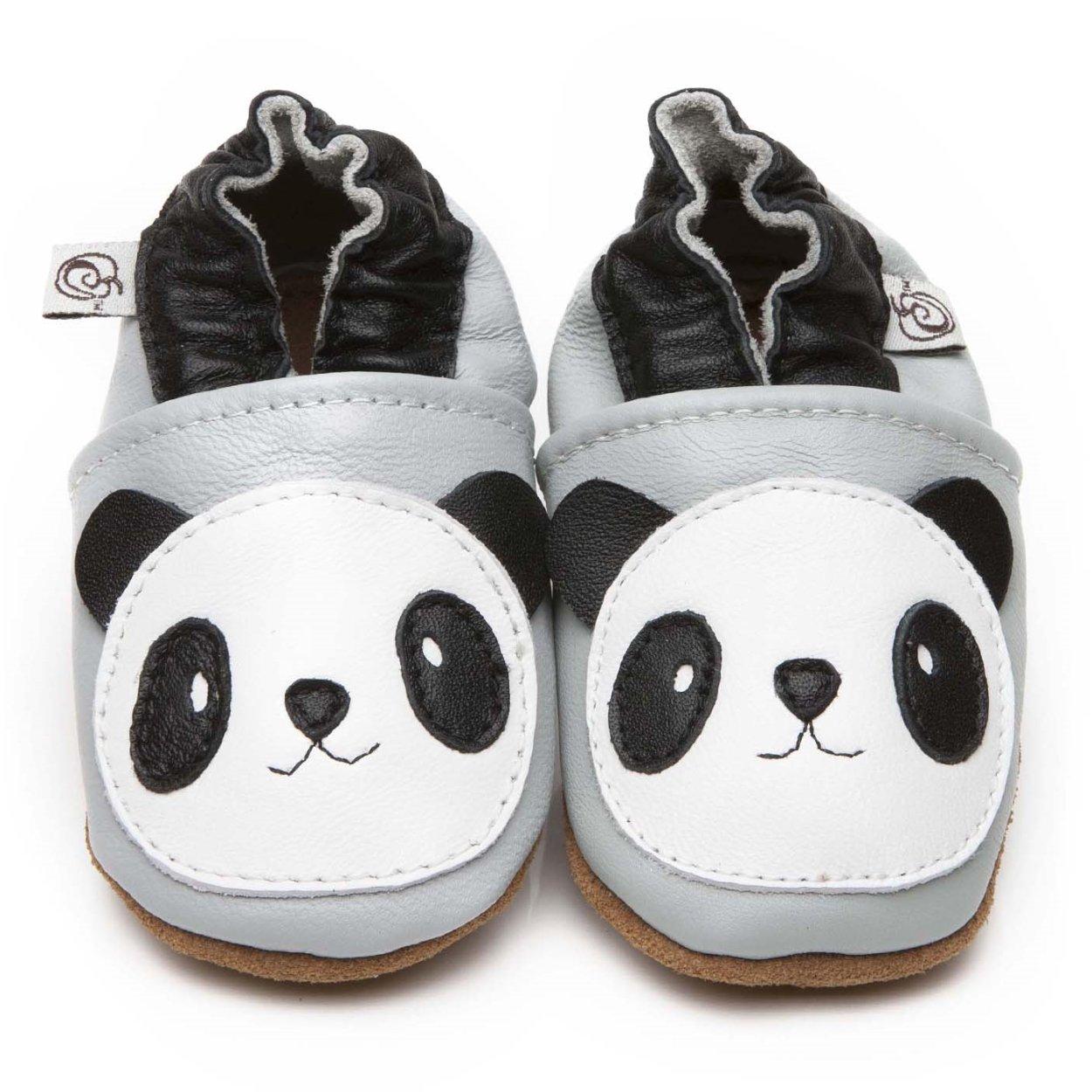 Chaussons Bébé en cuir doux Panda 0/6 mois Olea London