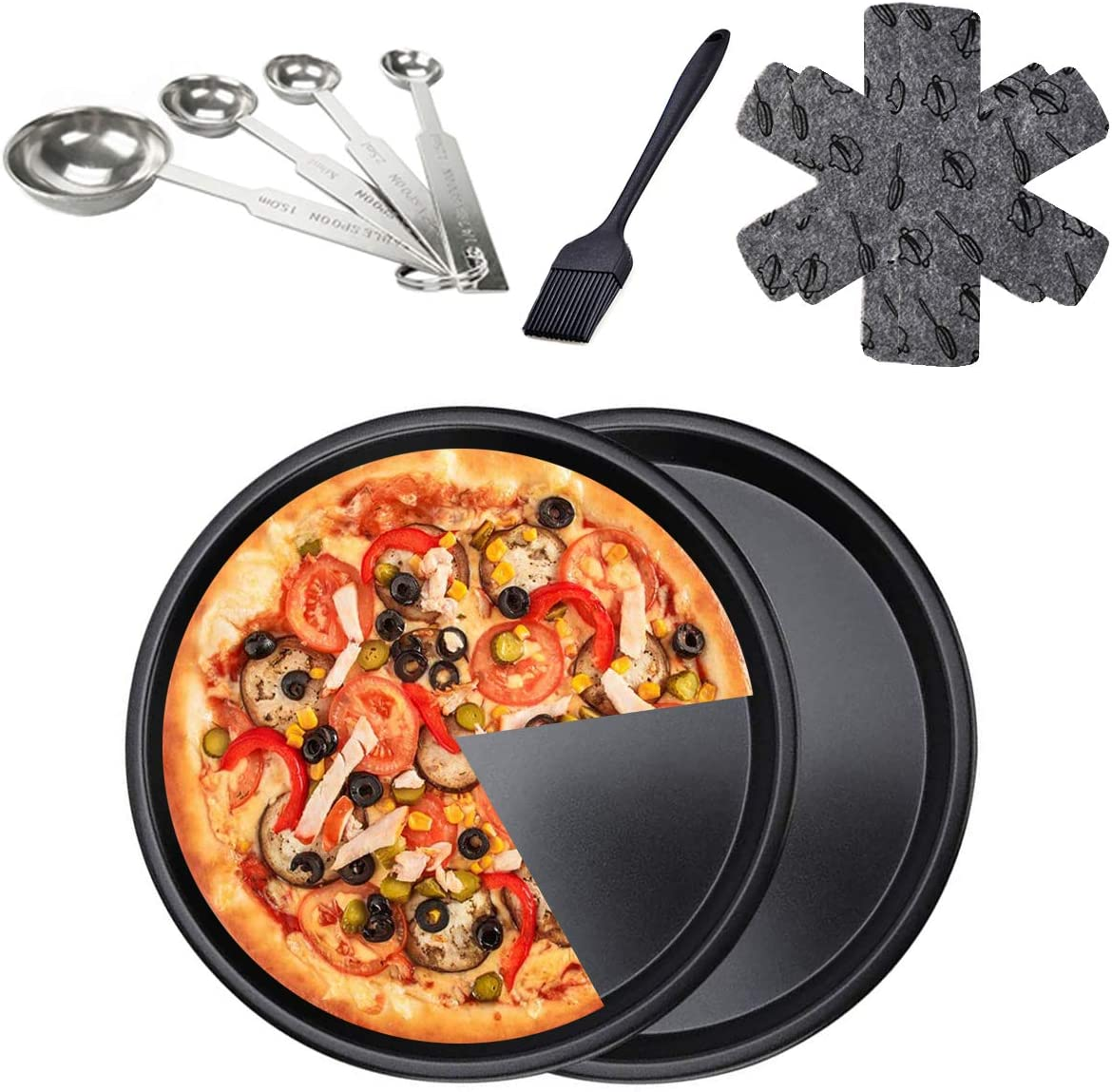 Pizza Pan 10 Inch for Oven , Stainless Steel Pizza Deep Dish Pizza Tray, Round Baking Pan, Nonstick Baking Sheets, Circle Pizza Plates Cooker, Home Metal Pizza Plate Bakeware Sets (2Pcs)