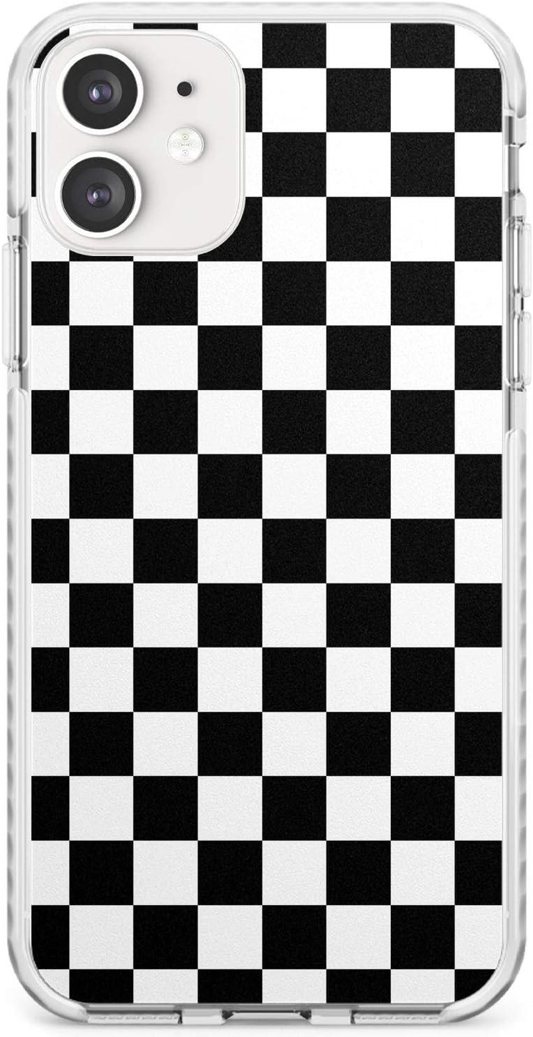 para iPhone 11 Negro A Cuadros Funda de Teléfono de Goma a Prueba de choques Bumper Cover para iPhone 11 Tablero De Damas Tartán Comprobado Patrón Inspector