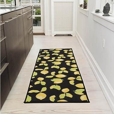 Ottomanson Collection Contemporary Lemons Design Runner (Non-Slip) Kitchen and Bathroom, Black, 20  X 59  Area Rug, 20 X59 ,