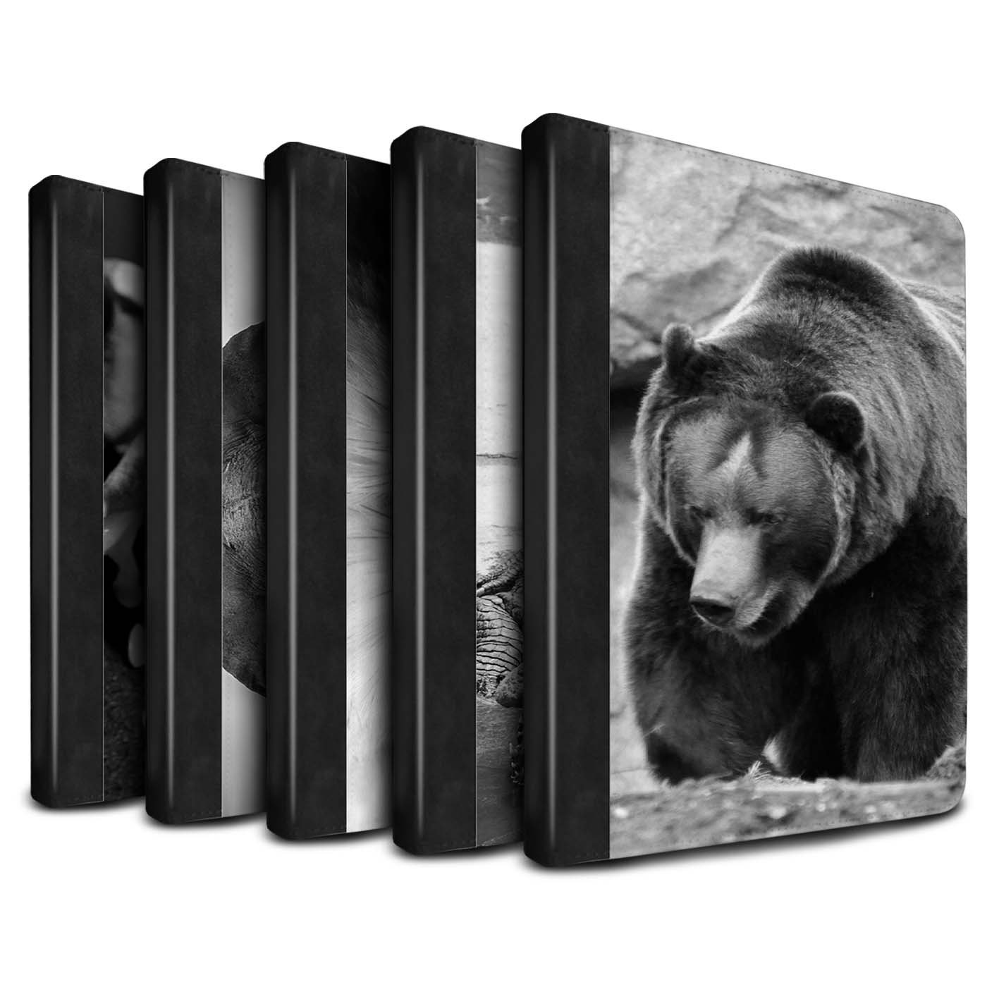 STUFF4 PU Leather Book/Cover Case for Apple iPad 9.7 (2017) tablets / Multipack Design / Mono Zoo Animals Collection