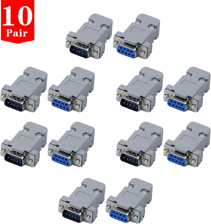 COCOCITY Conector de Serie, DB9 Pin Macho Conector, DB9 Conector Hembra en Serie y Capucha de Plástico/Carcasa, 20 Piezas