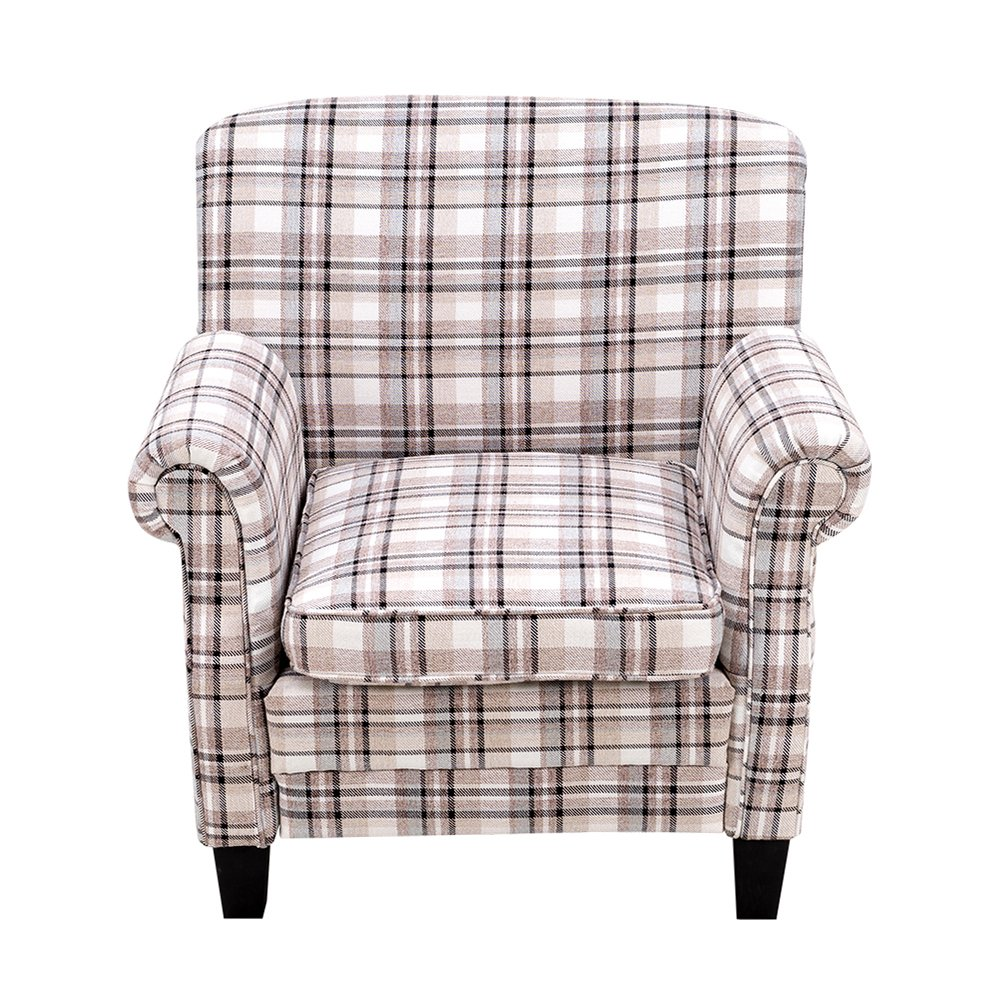 Britoniture Tartan Fabric Armchair Country Style Accent Chair Living Room Office Brown BOCHEN