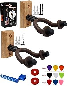 YMC 2 Pack GHW-10 Hardwood Home & Studio Guitar Hanger Hook Keeper-Coffee