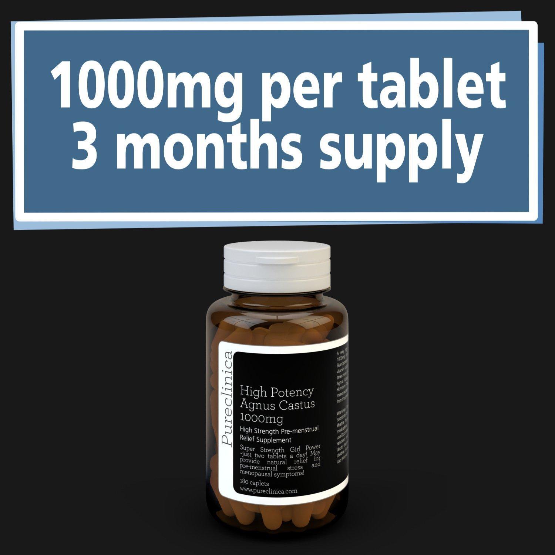 Agnus Castus 1000mg x 180 tabletas (3 meses de suministro). 250% más fuerte que las tabletas regulares Agnus Castus. SKU: AC3