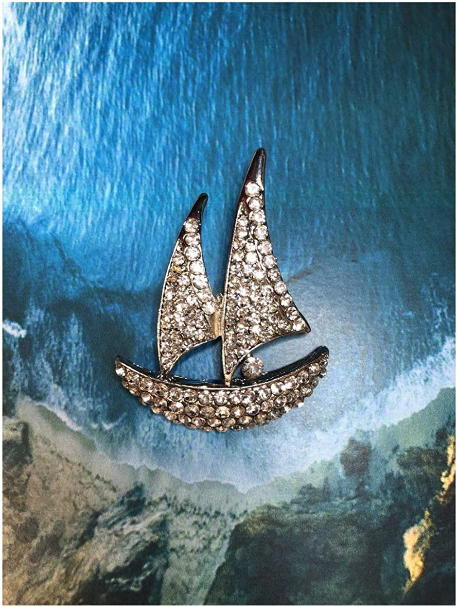 Pricegems Clear Crystal Beach Theme Nautical Sailboat Sailing Yachting Brooch Lapel Pin