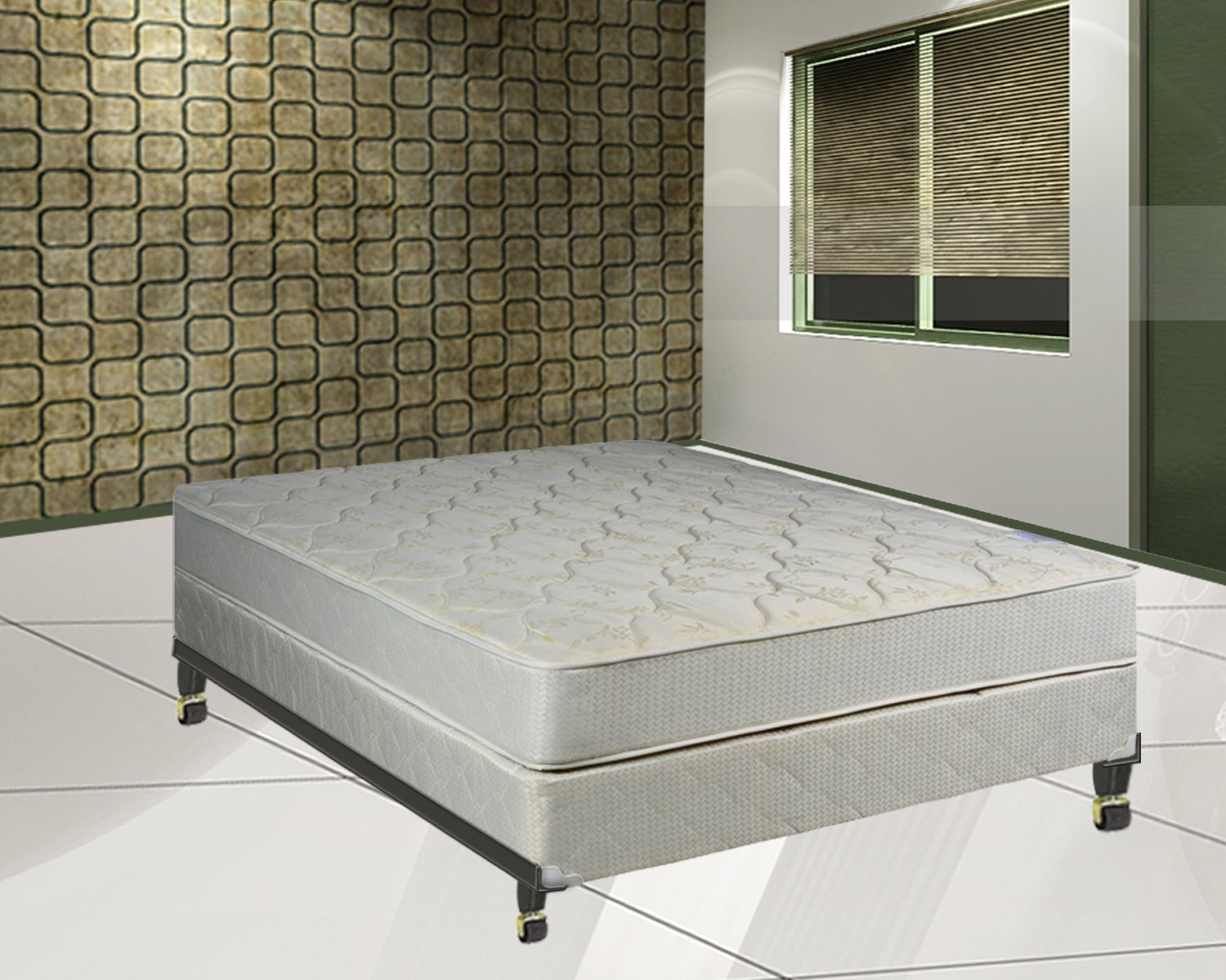 Elegant Collection Innerspring Mattress with Box Spring with Frame Foundation, Full Continental Sleep 99F-4/6-2